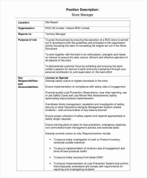 Operations Manager Job Description Template Elegant 15 Job Description Templates Free Sample Example