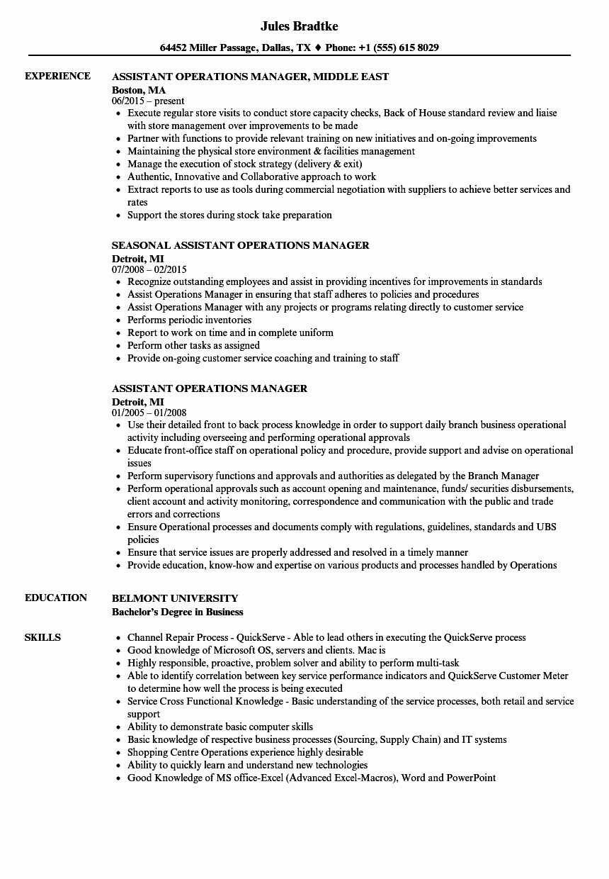Operations Manager Job Description Template Elegant assistant Operations Manager Resume Samples