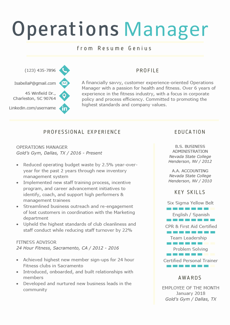 Operations Manager Job Description Template Elegant Operations Manager Resume Example & Writing Tips