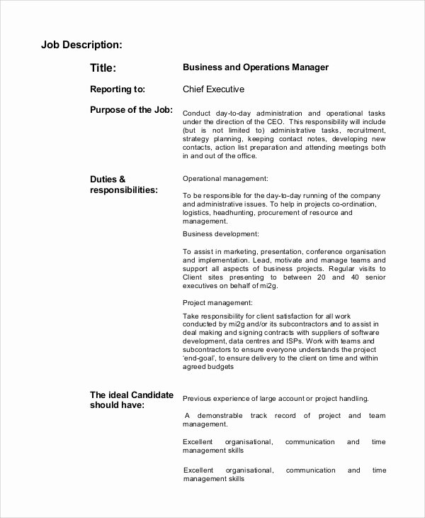 Operations Manager Job Description Template Fresh Sample Business Manager Job Description 8 Examples In
