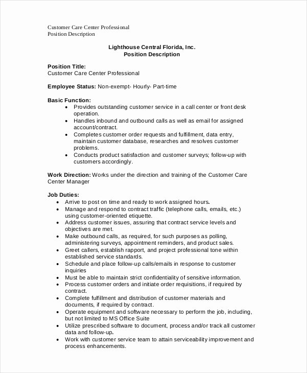 Operations Manager Job Description Template Inspirational Call Center Job Description 11 Free Word Pdf Documents