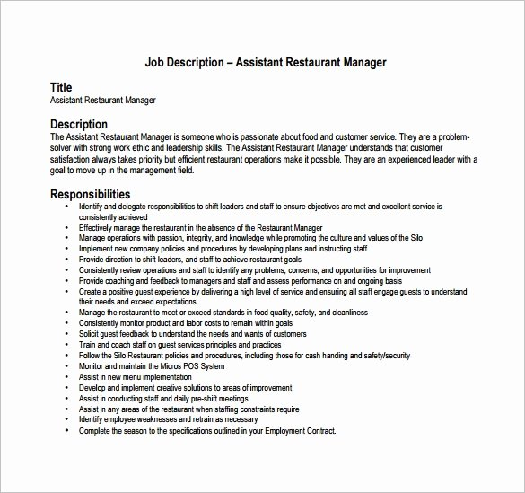 Operations Manager Job Description Template Inspirational Restaurant Manager Job Description Template 12 Free