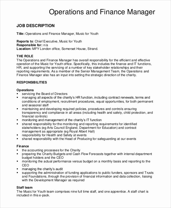 Operations Manager Job Description Template Lovely Sample Financial Manager Job Description 10 Examples In