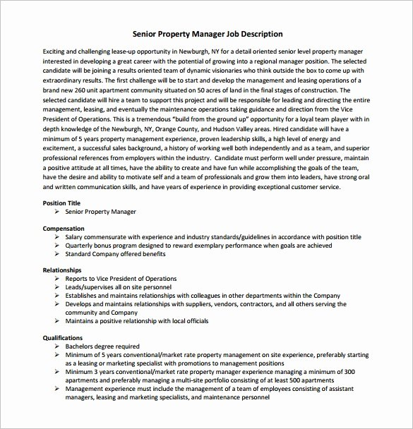 Operations Manager Job Description Template Luxury 9 Property Manager Job Description Templates Free