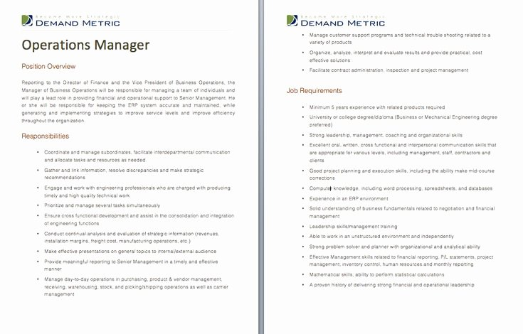 Operations Manager Job Description Template New Operations Manager Job Description A Template to Quickly