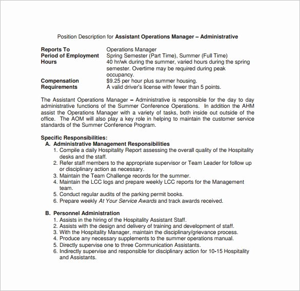 Operations Manager Job Description Template Unique 9 Operations Manager Job Description Templates