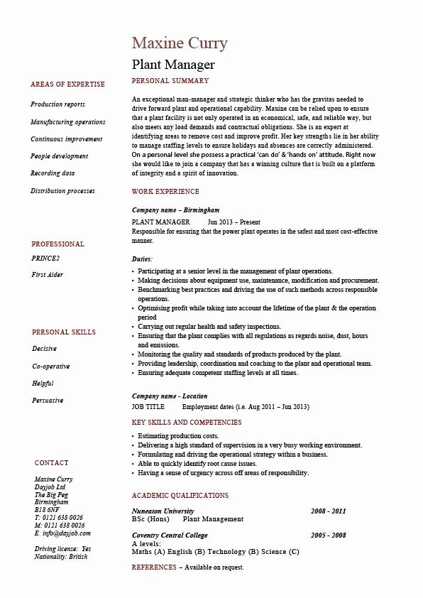 Operations Manager Job Description Template Unique Plant Manager Resume