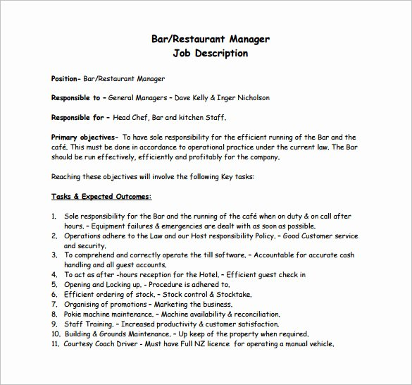 Operations Manager Job Description Template Unique Restaurant Manager Job Description Templates 13 Free