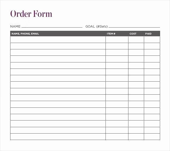 Order form Template Excel Luxury Free 14 Sample Fundraiser order Template In Pdf