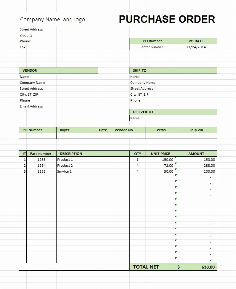 Ordering form Template Excel Beautiful 39 Free Purchase order Templates In Word & Excel Free