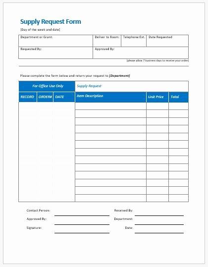Ordering form Template Excel Lovely Supply Request form Templates Ms Word