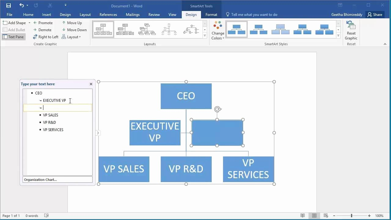 Org Chart Template Word New How to Create An organization Chart In Word 2016