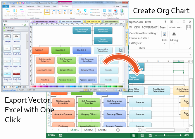 Organization Chart Template Excel New Create organizational Charts In Excel