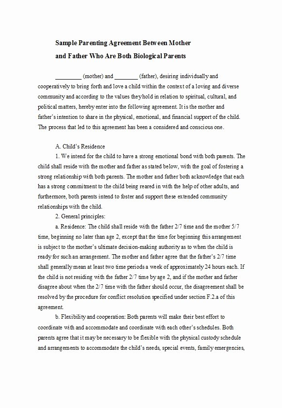 Parenting Agreement Template Free Best Of 49 Free Parenting Plan & Custody Agreement Templates