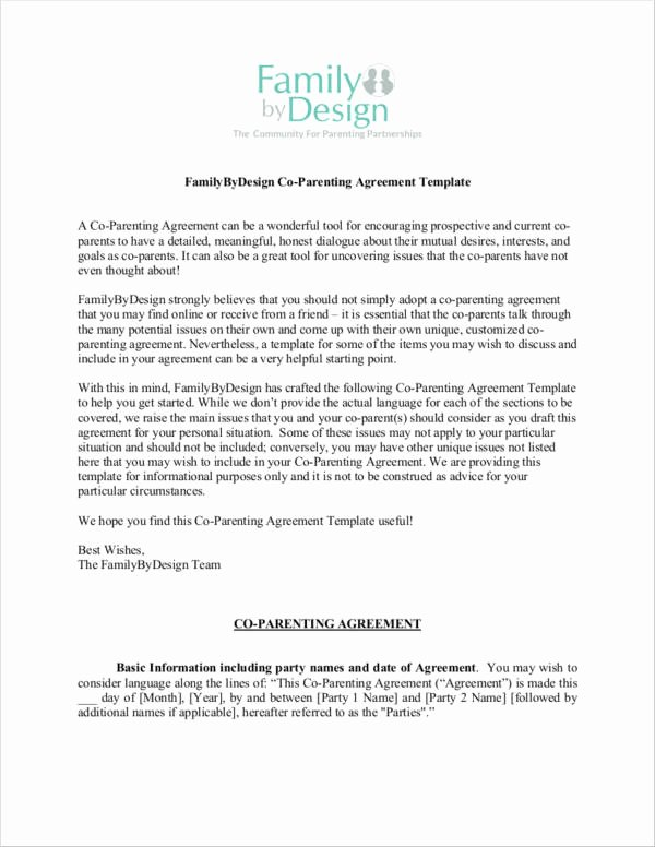 Parenting Agreement Template Free Best Of 7 Parenting Agreement Examples & Samples Pdf Word