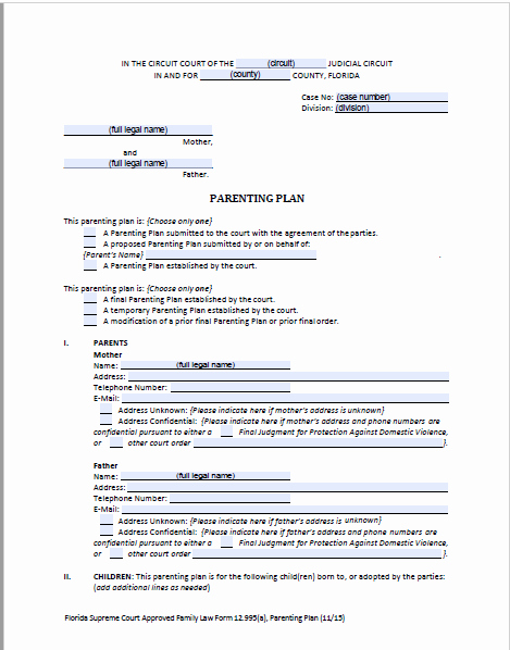 Parenting Agreement Template Free Elegant Florida D Parenting Plan forms & Instructions
