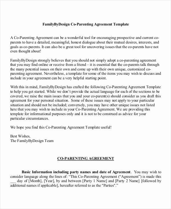 Parenting Agreement Template Free Elegant Parenting Agreement Templates 8 Free Pdf Documents