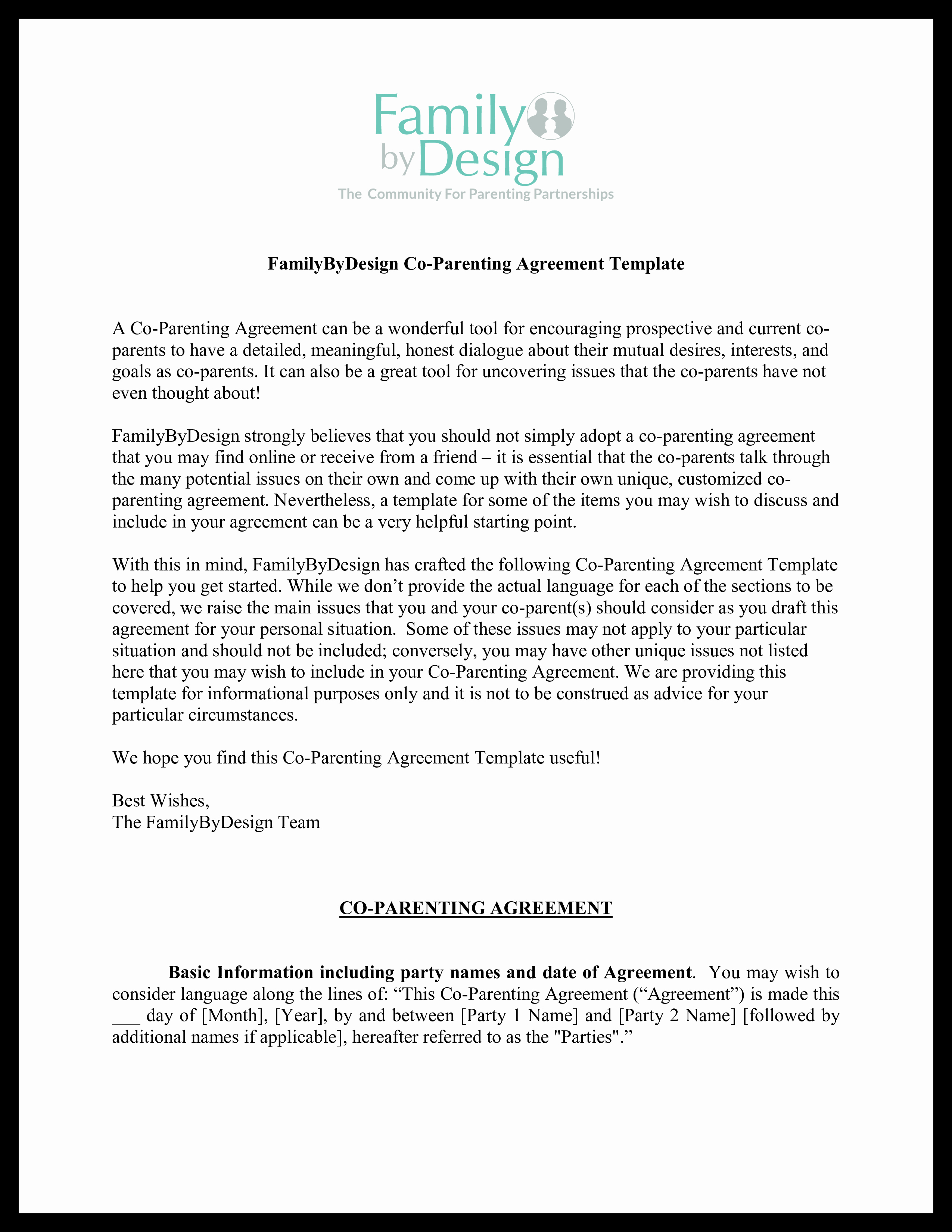 Parenting Agreement Template Free Fresh Co Parenting Agreement