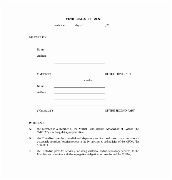 Parenting Agreement Template Free Inspirational Custody Agreement Template