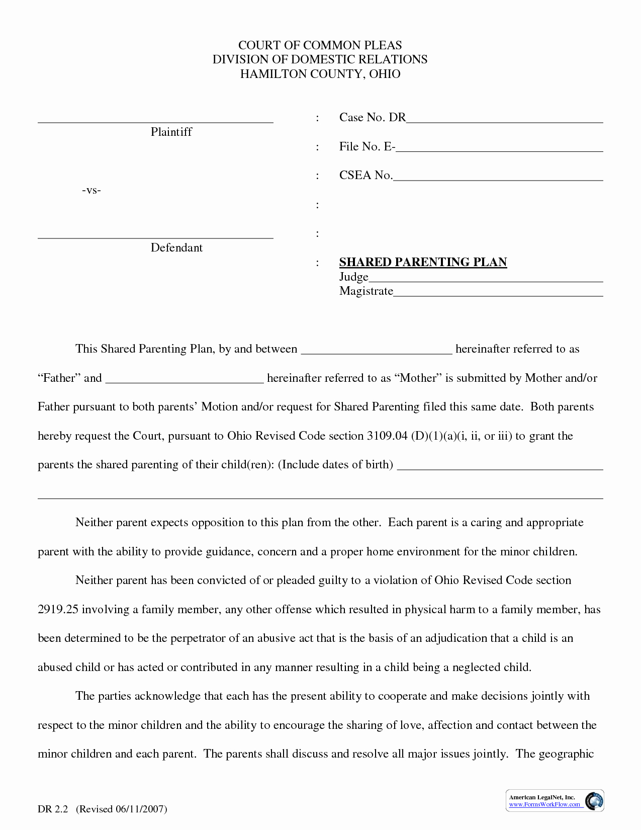 Parenting Agreement Template Free Luxury Parenting Plan Template
