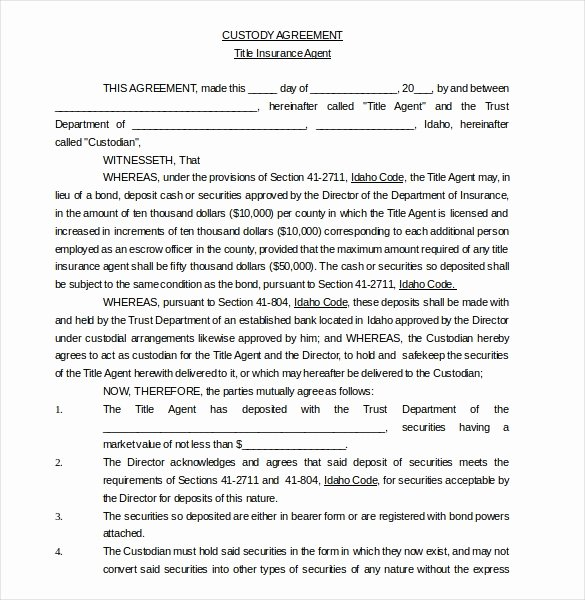 Parenting Agreement Template Free New 11 Custody Agreement Templates – Free Sample Example