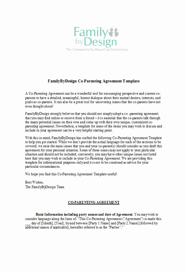 Parenting Agreement Template Free New 49 Free Parenting Plan & Custody Agreement Templates