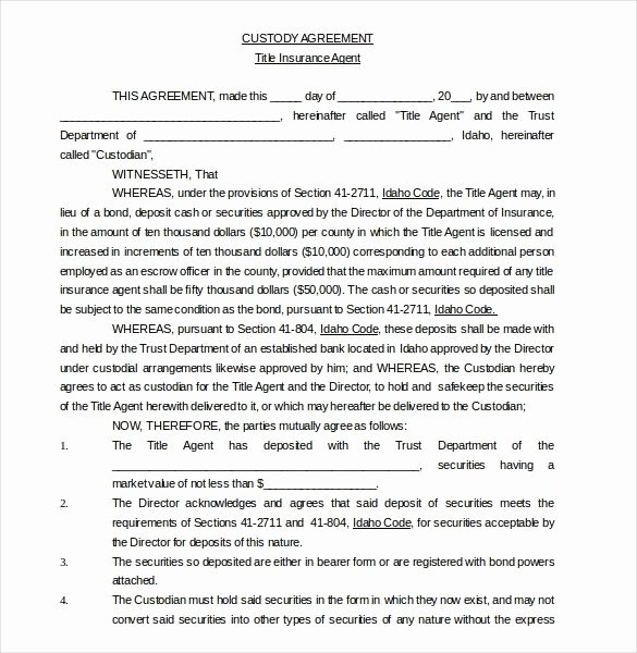 Parenting Agreement Template Free New Notarized Custody Agreement Template 2018