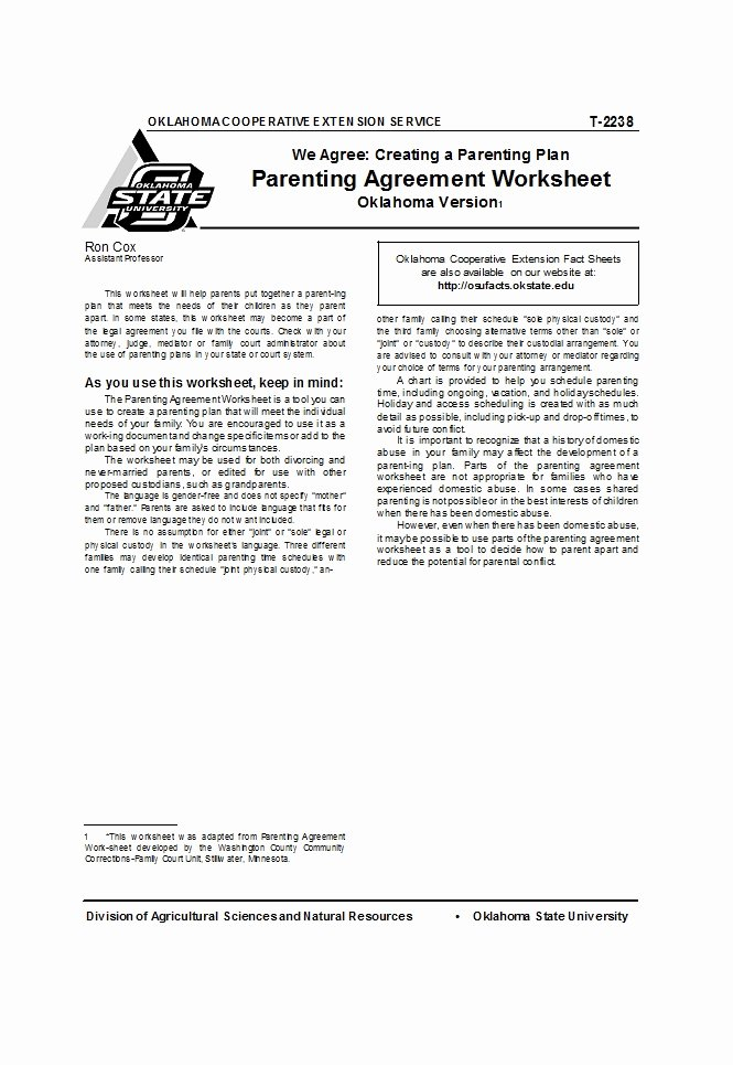 Parenting Agreement Template Free Unique 49 Free Parenting Plan & Custody Agreement Templates