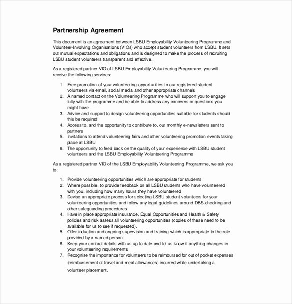 Partnership Agreement Template Free Beautiful 21 Partnership Agreement Templates – Free Sample Example