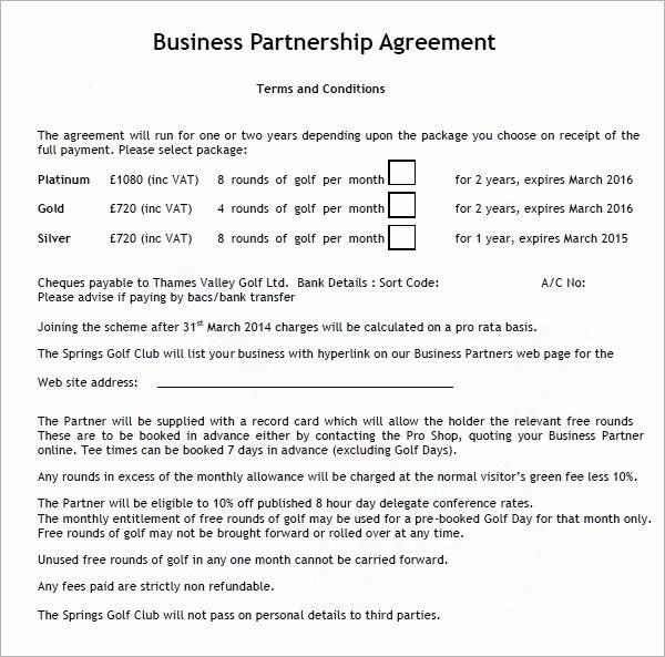 Partnership Agreement Template Free Beautiful Business Partnership Contract Template Free – Employee