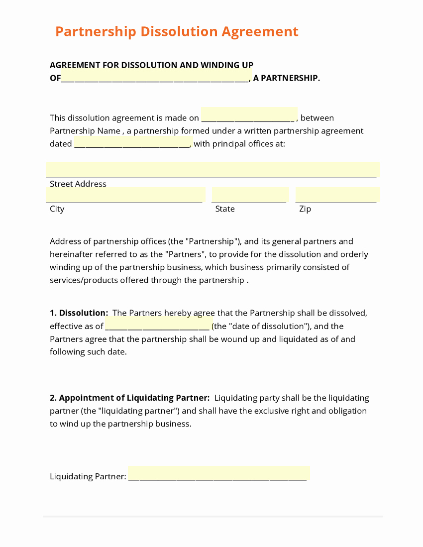 Partnership Agreement Template Free Best Of Business form Template Gallery
