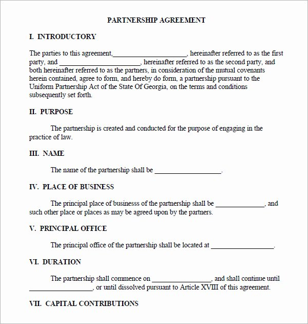 Partnership Agreement Template Free Best Of Partnership Agreement Sample