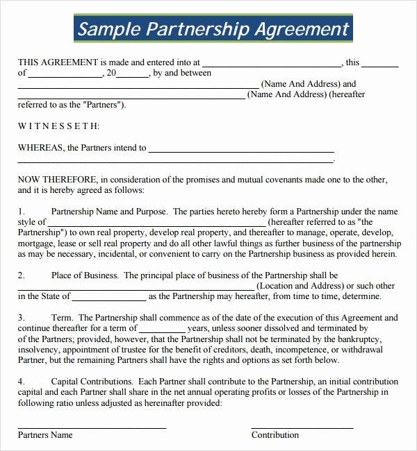 Partnership Agreement Template Free Elegant Sample Partnership Agreement 24 Free Documents Download