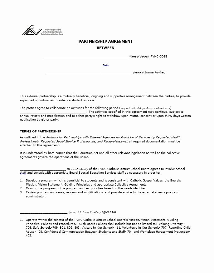 Partnership Agreement Template Free Fresh 40 Free Partnership Agreement Templates Business General