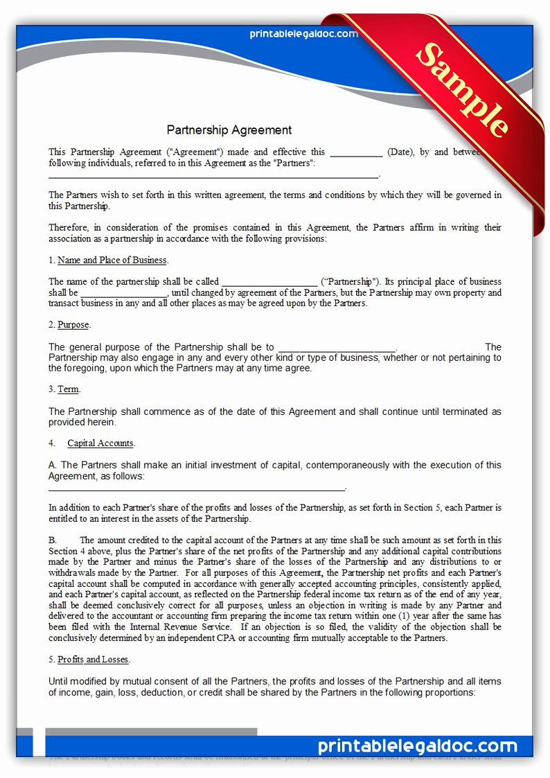 Partnership Agreement Template Free Inspirational Free Printable Partnership Agreement form Generic