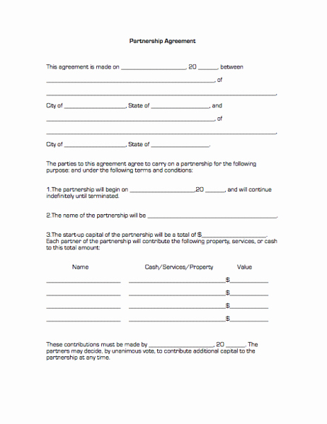 Partnership Agreement Template Free Lovely Printable Sample Partnership Agreement form
