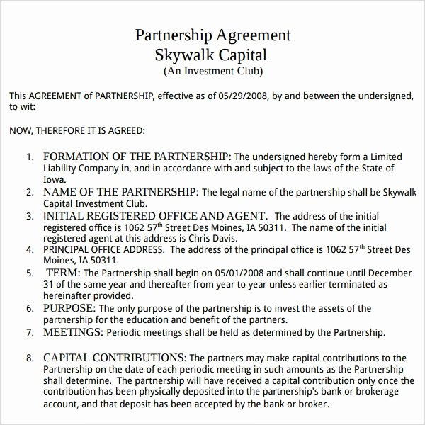 Partnership Agreement Template Free New Partnership Agreement 9 Free Pdf Doc Download