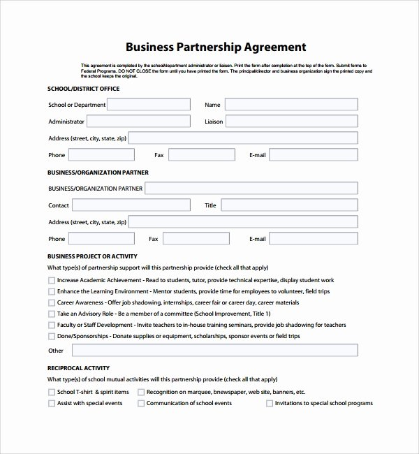 Partnership Agreement Template Free Unique Sample Business Partner Agreement 7 Free Documents