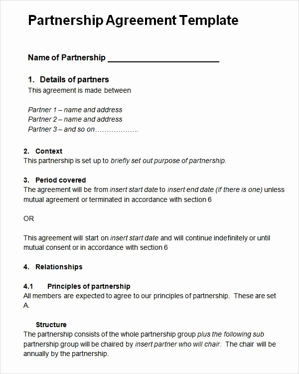 Partnership Agreement Template Free Unique Sample Partnership Agreement 24 Free Documents Download