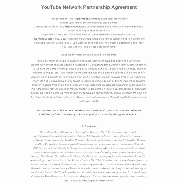 Partnership Contract Template Free Awesome 21 Partnership Agreement Templates – Free Sample Example