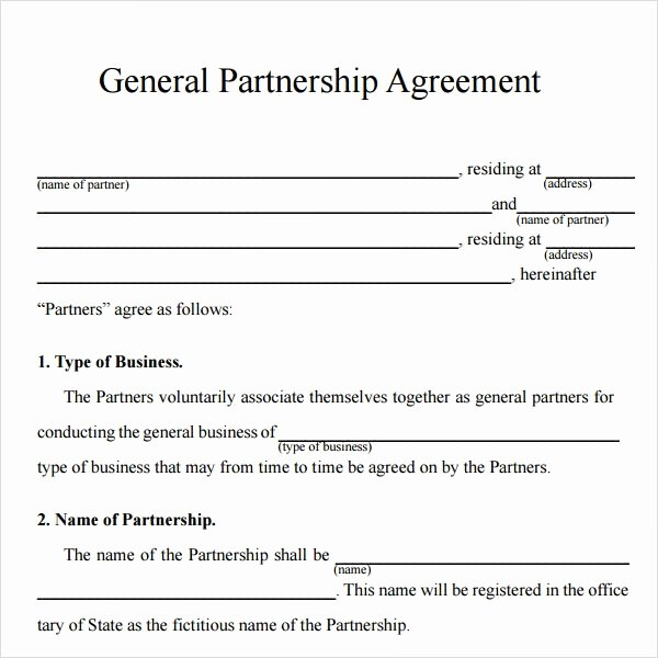Partnership Contract Template Free Best Of Sample Partnership Agreement 24 Free Documents Download