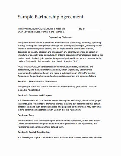 Partnership Contract Template Free Elegant Partnership Agreement Template Free Download Create