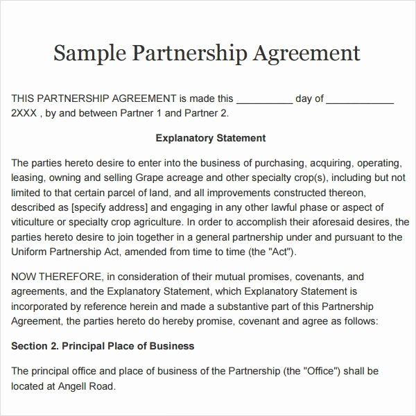 Partnership Contract Template Free Lovely Partnership Agreement 9 Free Pdf Doc Download