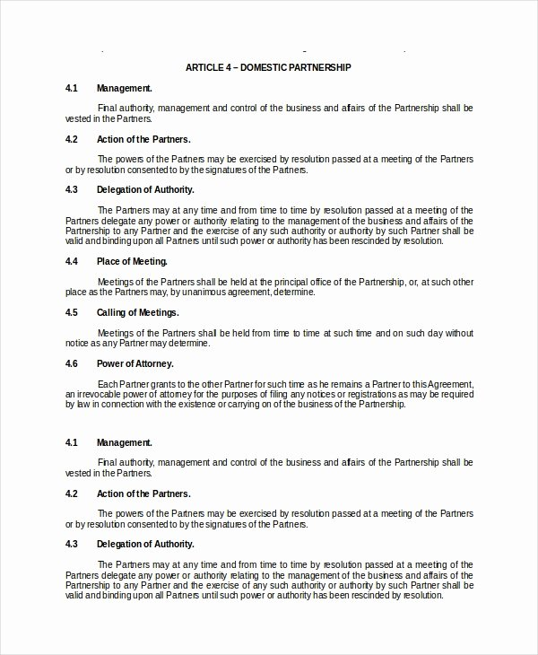 Partnership Contract Template Free Lovely Partnership Contract 13 Word Pdf Documents Download