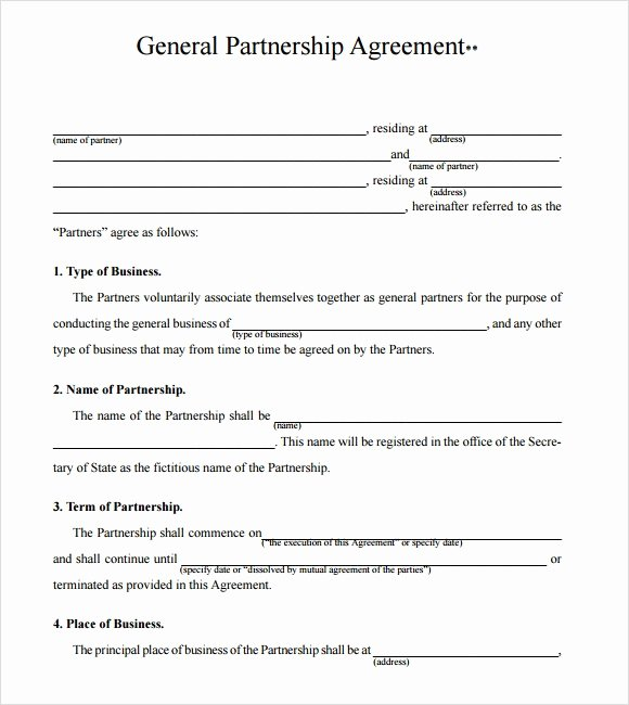 Partnership Contract Template Free Lovely Sample Business Partnership Agreement – 10 Documents In