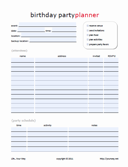 Party Planner Template Free New 11 Free Printable Party Planner Checklists