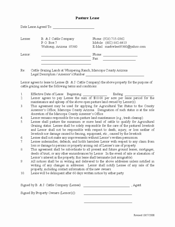 Pasture Lease Agreement Template Awesome Sample Pasture Lease Agreement Template Free Download