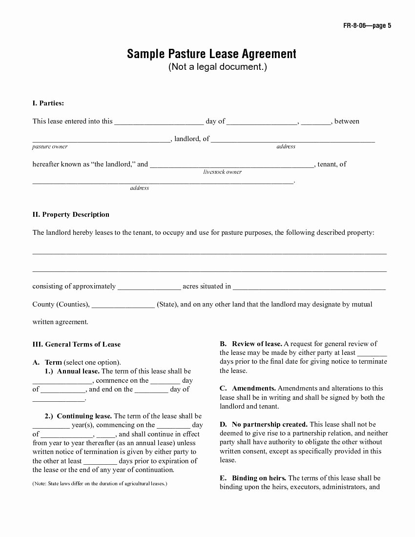Pasture Lease Agreement Template Elegant Download Free Sample Pasture Lease Agreement Printable