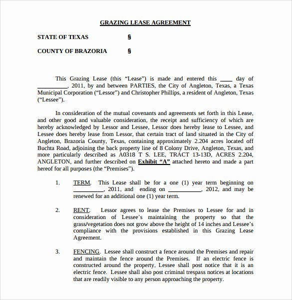 Pasture Lease Agreement Template Elegant Sample Pasture Lease Agreement 6 Documents In Pdf Word