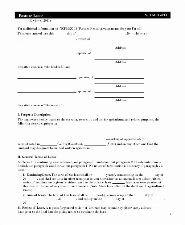 Pasture Lease Agreement Template Luxury 21 Free Lease Agreement Templates Word Pdf